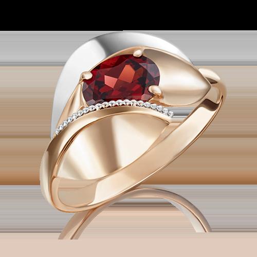 Кольцо из комбинированного золота гранатом 01-5081-00-204-1111-46