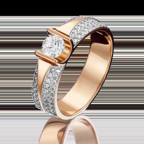 Кольцо из красного золота с фианитом огр.SW и фианитом 01-1275-00-502-1110-38