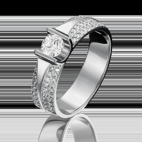 Кольцо из белого золота с фианитом огр.SW и фианитом 01-1275-00-502-1120-38