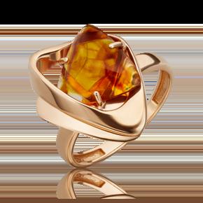 Кольцо из красного золота с янтарём 01-5453-00-271-1110-46