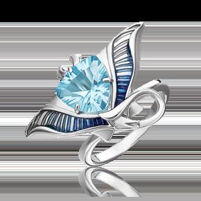 Кольцо из серебра с топазом и эмалью 01-5481-00-201-0200-69