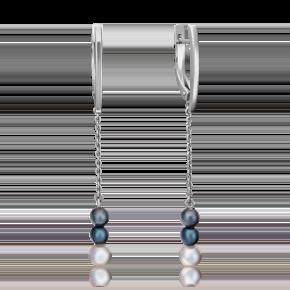 Серьги с английским замком из серебра с жемчугом культивированным 02-4433-00-301-0200-69