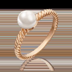 Кольцо из красного золота с жемчугом культивированным 01-5328-00-301-1110-31