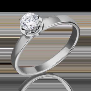 Помолвочное кольцо из белого золота с фианитом огр.SW 01-5234-00-501-1120-38