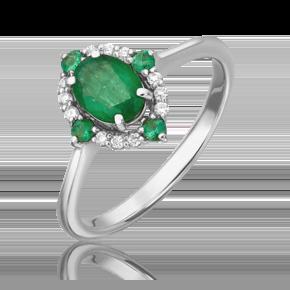 Кольцо из белого золота с изумрудом и бриллиантом 01-1600-00-106-1120-30