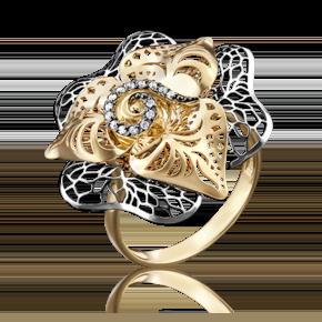 Кольцо из лимонного золота с фианитом 01-4841-01-401-1130-65