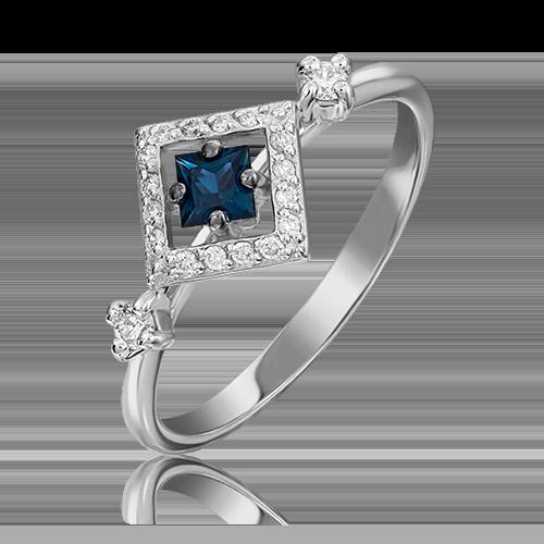 Кольцо из белого золота с сапфиром и бриллиантом 01-1467-00-105-1120-30