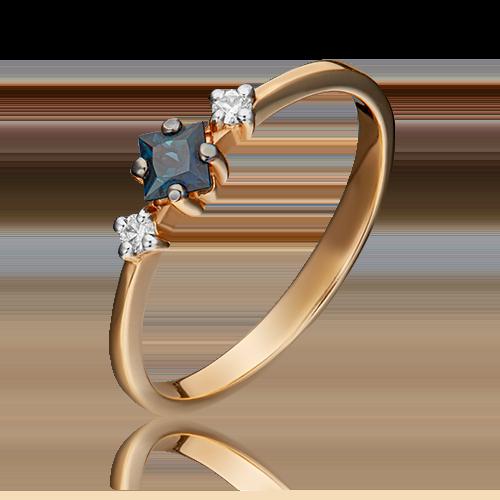 Кольцо из красного золота с сапфиром и бриллиантом 01-1468-00-105-1110-30