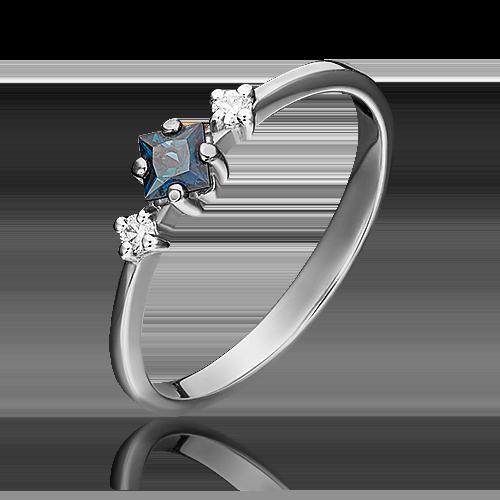 Кольцо из белого золота с сапфиром и бриллиантом 01-1468-00-105-1120-30