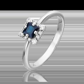 Кольцо из белого золота с сапфиром и бриллиантом 01-5545-00-105-1120-30