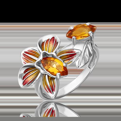 Кольцо из серебра с цитрином и эмалью 01-5490-00-206-0200-68