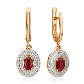 Серьги с английским замком из красного золота с рубином и бриллиантом 02-0715-00-107-1110-30