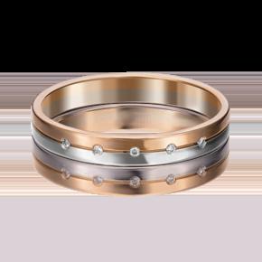 Обручальное кольцо из комбинированного золота с бриллиантом 01-1169-00-101-1111-30