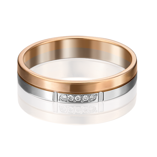 Обручальное кольцо из комбинированного золота с бриллиантом 01-1170-00-101-1111-30