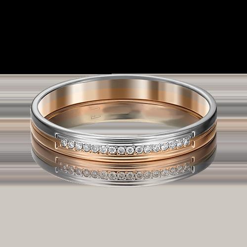 Обручальное кольцо из комбинированного золота с бриллиантом 01-1171-00-101-1111-30