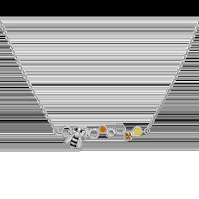 Колье из серебра с цитрином и эмалью 07-0235-00-206-0200-68