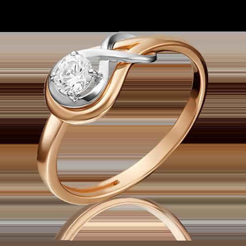 Помолвочное кольцо из комбинированного золота бриллиантом 01-5343-00-101-1111-30