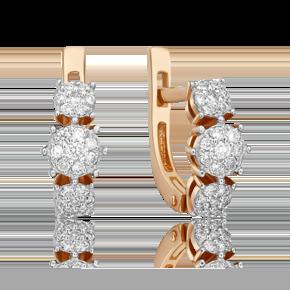 Серьги с английским замком из красного золота с бриллиантом 02-4884-00-101-1110-30