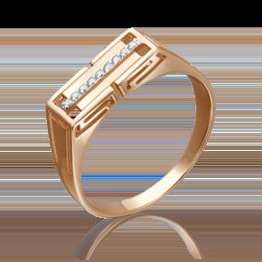 Печатка из красного золота с фианитом 01-4201-00-401-1110-22