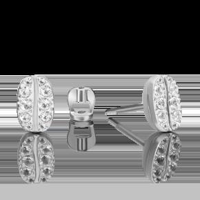 Серьги-пусеты из белого золота с топазом white 02-4916-00-201-1120
