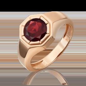 Печатка из красного золота с гранатом 01-5324-00-204-1110-46
