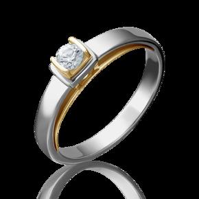 Помолвочное кольцо из лимонного золота с фианитом огр.SW 01-5171-00-501-1121-38