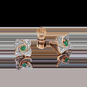 Серьги-пусеты из красного золота с изумрудом и бриллиантом 02-0845-00-106-1110-30