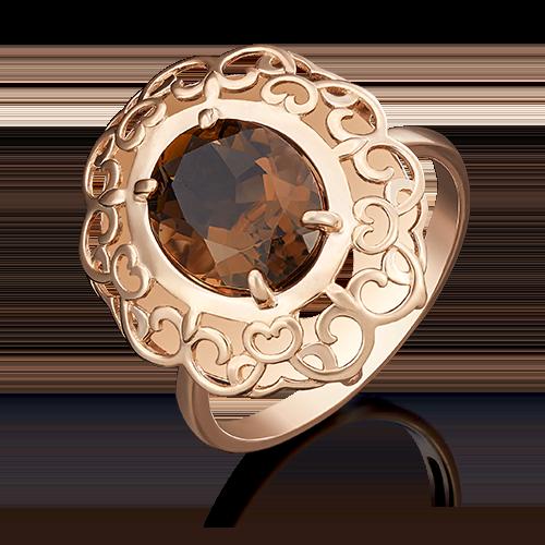 Кольцо из красного золота кварцем дымчатым 01-4814-00-202-1110-46