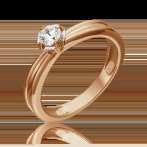 Помолвочное кольцо из красного золота с фианитом огр.SW 01-5257-00-501-1110-38