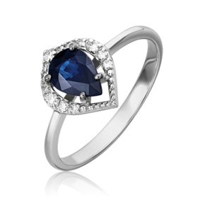 Кольцо из белого золота с сапфиром и бриллиантом 01-5536-00-105-1120-30