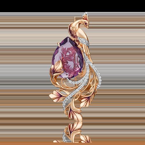 Брошь из красного золота с аметистом, топазом и эмалью 04-0234-00-225-1110-46