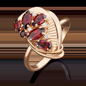 Кольцо из красного золота с гранатом и фианитом 01-5032-00-210-1110-46