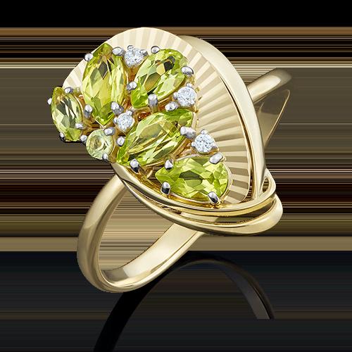 Кольцо из лимонного золота с хризолитом и фианитом 01-5032-00-211-1130-46