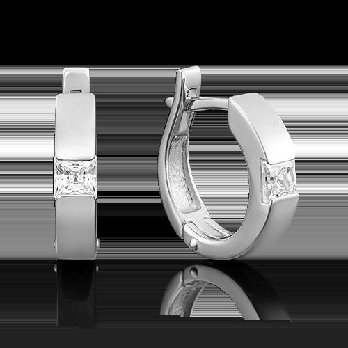 Серьги с английским замком из белого золота с бриллиантом 02-3935-00-101-1120-30
