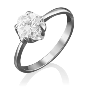 Кольцо из белого золота с фианитом огр.SW 01-4877-00-501-1120-38