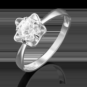Кольцо из белого золота с фианитом огр.SW 01-4878-00-501-1120-38
