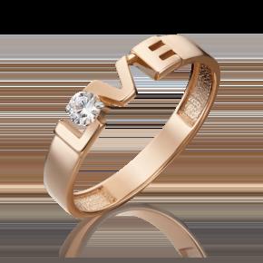 Кольцо из красного золота с фианитом 01-5340-00-401-1110-03