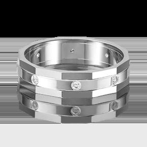Обручальное кольцо из белого золота с бриллиантом 01-5218-00-101-1120-30