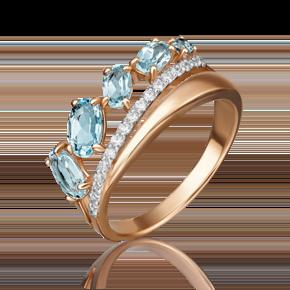 Кольцо из красного золота с топазом и фианитом 01-4518-00-207-1110-46