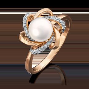 Кольцо из красного золота с жемчугом культивированным и фианитом 01-4470-00-302-1110-03