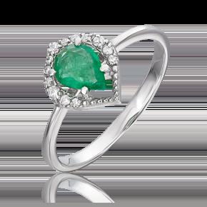 Кольцо из белого золота с изумрудом и бриллиантом 01-5536-00-106-1120-30