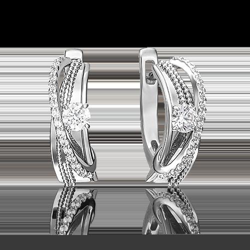 Серьги с английским замком из белого золота бриллиантом 02-4265-00-101-1120-30