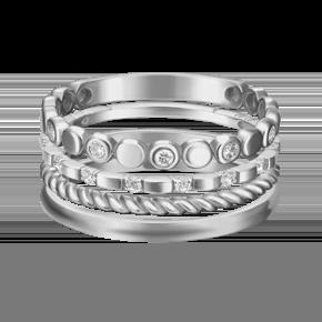 Наборное кольцо из белого золота с фианитом 13-0005-00-401-1120-48