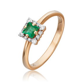 Кольцо из красного золота с изумрудом и бриллиантом 01-5545-00-106-1110-30