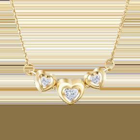 Колье из лимонного золота с фианитом огр.SW 07-0186-00-501-1130-38