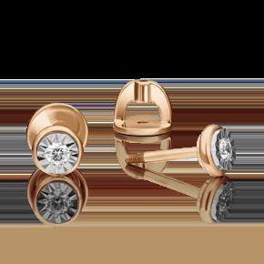 Серьги-пусеты из комбинированного золота с бриллиантом 02-4351-00-101-1111-30