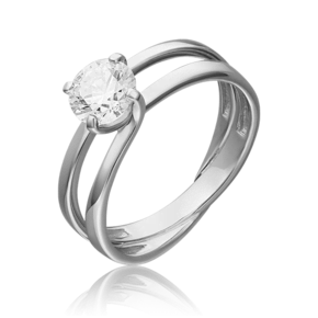 Кольцо из белого золота с фианитом огр.SW 01-5438-00-501-1120-38