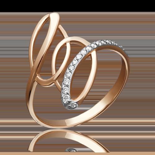 Кольцо из красного золота фианитом 01-3708-00-401-1110-23