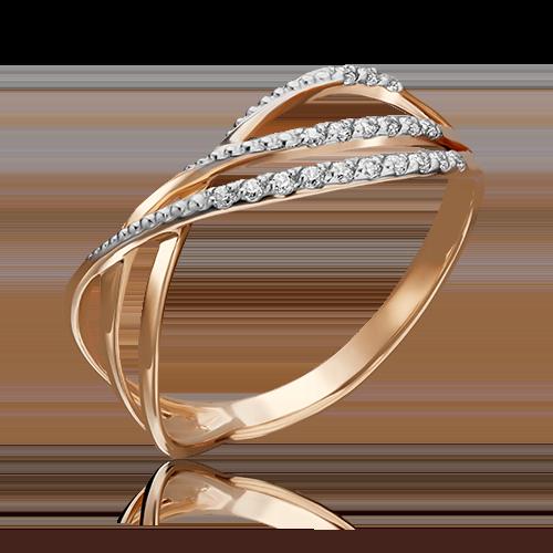 Кольцо из красного золота фианитом 01-3710-00-401-1110-23