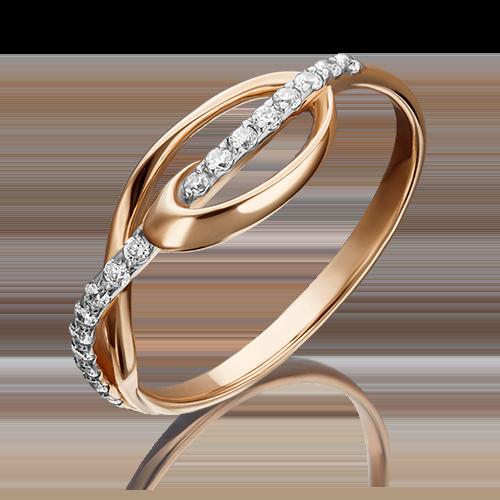 Кольцо из красного золота фианитом 01-3712-00-401-1110-03